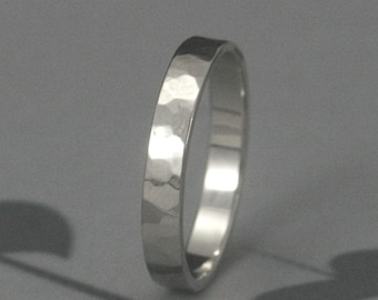 3mm Flat Edge Wedding Band--Your choice of ONE in Solid 14K Yellow, White, or Rose Gold--Custom made in YOUR size