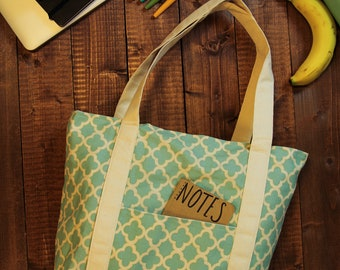 Blue and White Canvas Tote Bag with Pocket || Farmers Market Tote || Reusable Grocery Bag