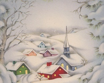 Digital download, Beautiful Snow Covered Village , Vintage Christmas Greeting Card, Instant Download