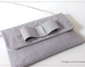 Gray and white striped bag one of its kind