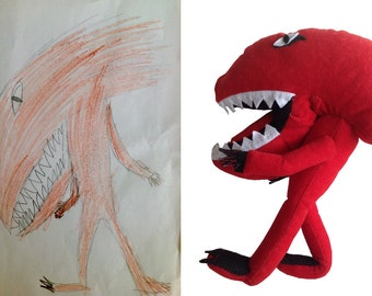 Plush toy dinosaur from childs drawing, Custom plush toy, Plushy from drawing, Personalized plush toy from photo, Best gift for kids