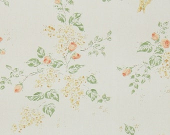 1950s Vintage Wallpaper by the Yard - Floral Wallpaper with Peach Orange Rosebuds on White