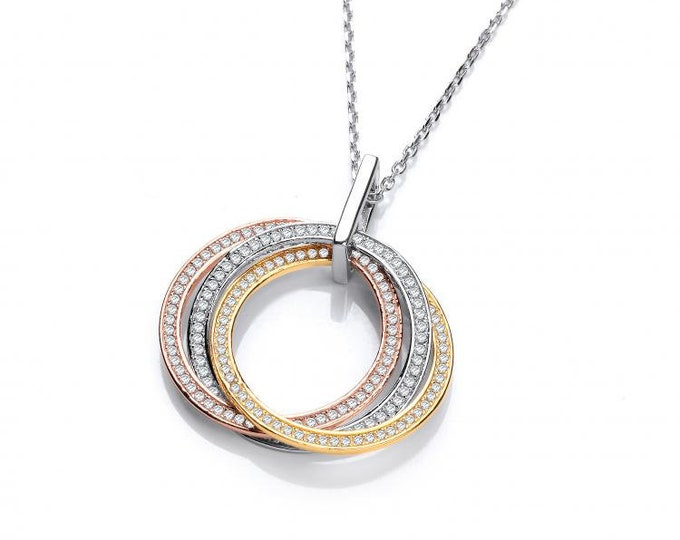 """Three Colour Circle of Life Micro Pave Cz Pendant Sterling Silver 16""""-18"""" Necklace"""