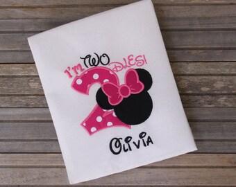 I'm Twodles Minnie Birthday Shirt, Girls Birthday T-shirts, Birthday Outfit, Minnie Mouse Birthday Shirt, I'm two