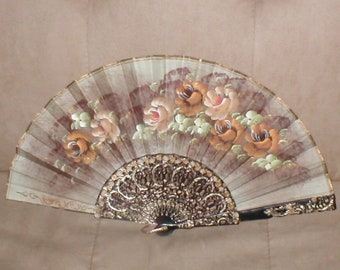 Vintage Silk Folding Fan hand painted  on BOTH Sides