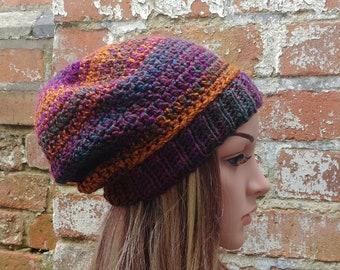 Beanie hat . Crochet beanie . Colourful beanie . Slouch beanie . Women's beanie hat . Festival beanie .