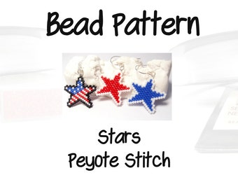 Bead Patterns Patriotic Stars, Peyote or Brick Stitch, Delica Seed Beads | DIGITAL DOWNLOAD
