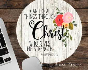 Scripture Mouse Pad-Round Mouse Pad-Watercolor Flower Mouse Pad-Bible Verse Mouse Pad-Desk Accessory