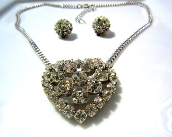 Vintage Rhinestone Heart Necklace and Earrings Set Circa 1950s