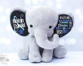 Baby Boys Birth Stat Elephant Plush,  Keepsake Elephant, Birth Announcement Elephant, Monogrammed Elephant, Newborn Gift, Personalized plush