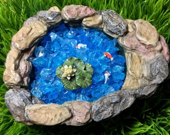 Miniature Lily Pad Pond with Glass Chips ~ Option with Gold Fish or Koi ~ Fairy Garden Stone Pond ~ Miniature Garden ~ Miniature Koi Pond