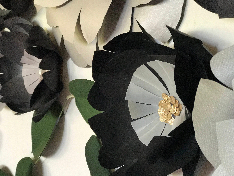 Black paper flowers black wall decor black giant flowers black wall shipping mightylinksfo