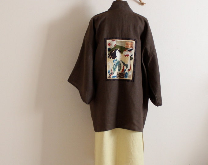 made to order geisha winter weight linen haori inspired jacket / linen haori jacket / geisha with lantern / custom colors / free size