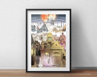 The Hunter's Dream - Art Print - Fantasy Art Print - Video Game Decor - Geek Gift - Gamer Gift - Video Game Wall Art - Gothic Home Decor
