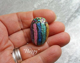 Happy: Hand-Painted Mindfulness Stone