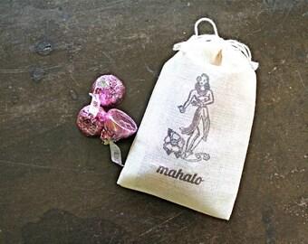 Wedding favor bags, set of 50 drawstring cotton bags, Hawaiian hula dancer, Mahalo, thank you favor, destination wedding, tropical wedding