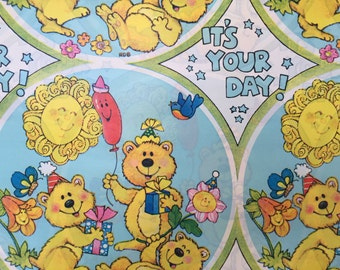 Vintage Gift Wrapping Paper - Juvenile - Birthday or All Occasion Bear Party with Balloons and Gift - 1 Unused Full Sheet Birthday Gift Wrap