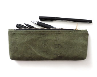 Recycled Pencil Case Zipper Pencil Pouch Military Canvas