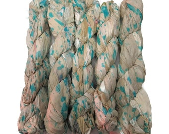 New! Tye dye Sari Silk Ribbon, 100g , Light Turquoise