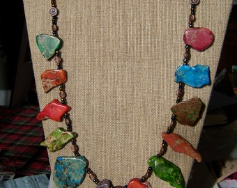 Natural Stone Necklace,Bronze Jewelry,Jasper Necklace,Semiprecious Stone Jewelry,Strand Necklace,Rainbow Jewelry, Women's necklaces, #85