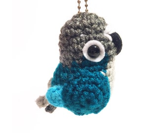 Turquoise Conure Keychain - Crochet Conure - Keychain - Crochet Plush - Amigurumi Bird - Key Accessory - Conure Replica - READY TO SHIP