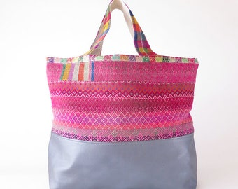 Extra Large Leather Tote/ Carry All / Silver Leather / Peruvian Bag