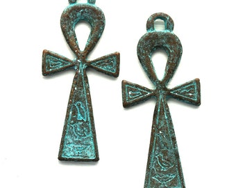 Large Ankh Pendant, Egyptian symbol of Life, Cross with loop, Verdigris patina on copper, boho charm - 1pc - F342