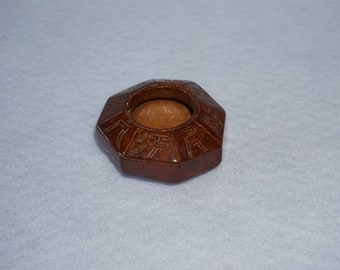 Peruvian Carved Stone Octagon Bowl or Inkwell