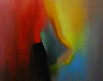 Vibrant oil painting abstract art painting, woman painting back, dancer painting ballet, canvas wall art modern painting