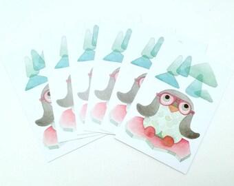 Set of 6 cards postcards Penguin