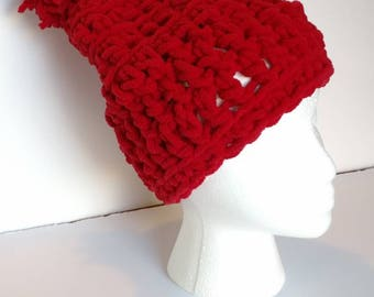 Hat red Crochet pom pom Hat, winter fashion, chunky knits, Christmas red cap, women's hats, women's accessories, gift for her