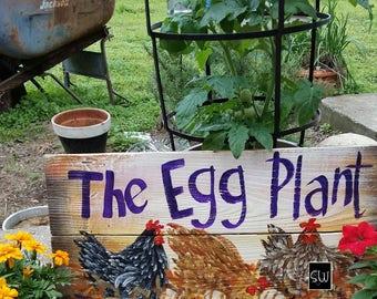 "11"" x 22"" #416 The Egg Plant Folk Art Chicken Hens Original Art"