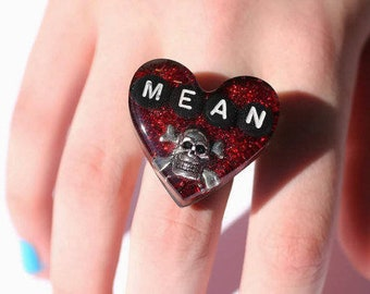 Mean Girl Ring Feminist Killjoy Skull and Crossbones Jewelry Jolly Roger Statement jewelry Holographic Red Heart Ring