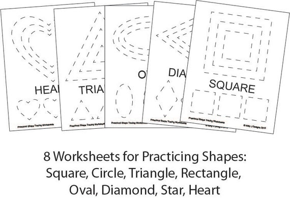 preschool shape tracing worksheet pdf printables. Black Bedroom Furniture Sets. Home Design Ideas