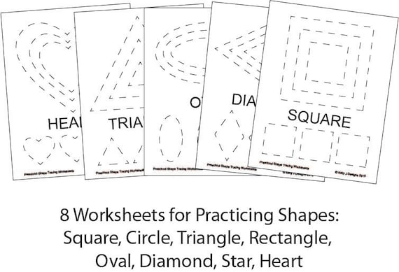 Preschool shape tracing worksheet pdf printables for Shape tracing templates