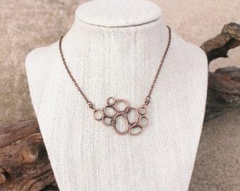 Mini Bubble Necklace, Oxidized Copper