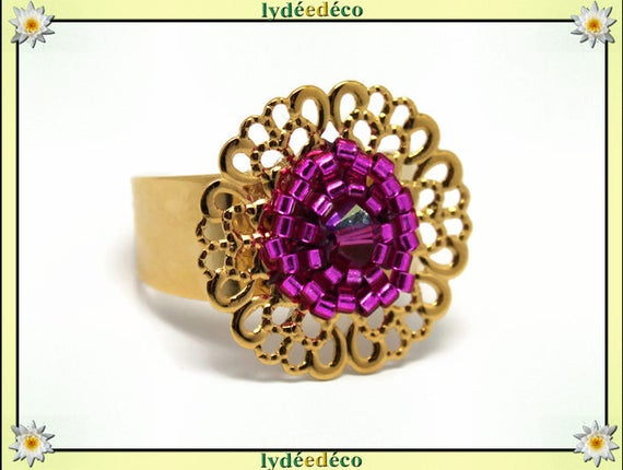 ROSA print brass flower ring gold 24 carat 24 K woven beads Japanese pink colors 20mm adjustable