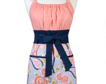 Womens Retro Chef Apron Peach Coral Daisys and Navy Paisley on Gray Retro Vintage Inspired Kitchen Cooking Hostess Apron with Pockets
