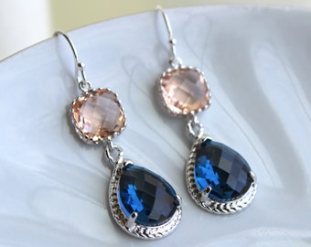Champagne Blush Earrings Sapphire Navy Blue Silver Earrings Two Tier Peach Pink Bridesmaid Earrings Wedding Earrings Navy Bridesmaid Jewelry