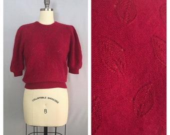 Raspberry sweater | vintage Angora sweater top | 1980s fuzzy knit blouse | m