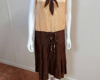 Vintage Wounded 1920s 1930s Silk Drop Waist Dress Study Piece