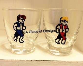 Double Dragon, shot glass set, NES, handmade nintendo gifts, Nintendo, old school, video games, gamer gifts, shot glasses, 80s, 90s, gamer