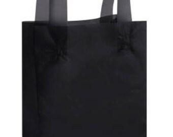 25-Medium Black Frosty Shopper 8x5x10