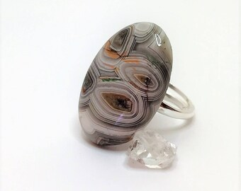 Crazy Lace Agate Cabochon Sterling Silver Oval Statement Ring Multicolour Ring Natural Stone Ring Unique Gemstone Ring  LynnsGemCreations