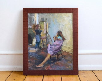 Pregnant Woman Original Oil Painting Figurative Fine Art Motherhood Realism Large Impressionist Painting by Gwen Meyerson