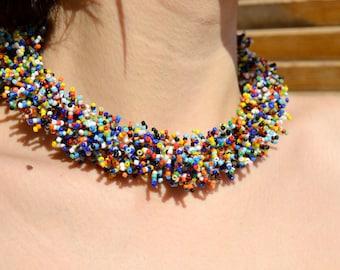 Bohemian Necklace, bead necklace,, Women's Day, Multicolor
