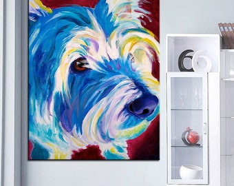 Westie Canvas Painting- West Highland White Terrier Painting - Westie Art FREE Shipping