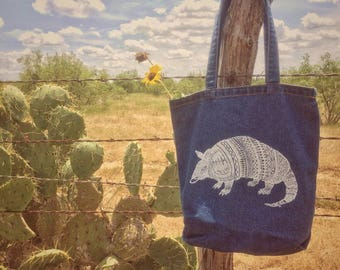 Armadillo Denim Tote Bag