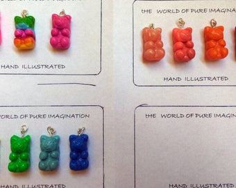 polymer clay gummy bears pendant . Gummy bears jewelery.cute animal.Buy Directly From Artist.fair trade.handmade.TWOPI1DB