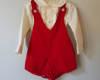 Vintage Boys Red Velvet Jon Jon Romper and Off White Shirt with Ruffles - Size 12 Months-Gently Worn
